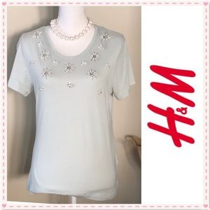 🔥🆕WOMENS H&M EMBELLISHED COTTON T-SHIRT (TEE)
